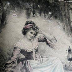 Varios objetos de Arte: PRECIOSA ESCENA GALANTE SOBRE CARTÓN. CIRCA 1920. DIMENSIONES: 32X21 CM.. Lote 289771148
