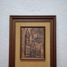Varios objetos de Arte: CUADRO EN COBRE ARTISTICO CON LA IGLESIA Y EL ESCUDO DE EL VENDRELL. Lote 291868578