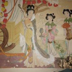 Varios objetos de Arte: ANTIGUA OBRA JAPONESA O CHINA DE MÁS DE 100 AÑOS DE ANTIGÜEDAD REPINTADA. Lote 295565073