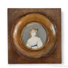 Varios objetos de Arte: MINIATURA PINTADA EN MARFIL. IVORY MINIATURE PAINTING.. Lote 295633148