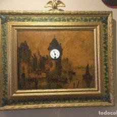 Varios objetos de Arte: PAISAJE HOLANDÉS CON RELOJ EN LA TORRE. Lote 295924948