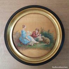 Varios objetos de Arte: PEQUEÑA PINTURA SOBRE SEDA. Lote 297171708