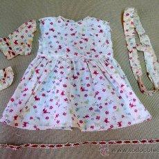 Vestidos Muñeca Española Clásica: VESTIDO ESTAMPADO, ORIGINAL MUÑECA MARIQUITA PEREZ, 1950S, (LEER DESCRIPCION). Lote 27219086