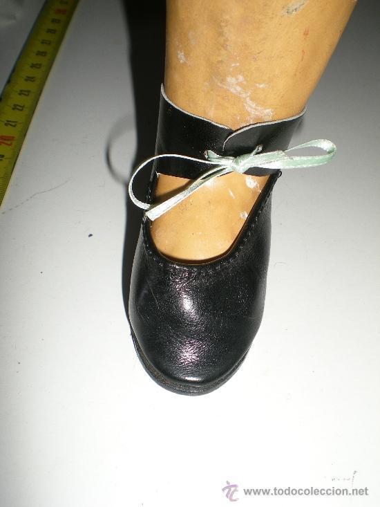 Vestidos Muñeca Española Clásica: antiguos botitas de piel negros con lazo de muñecas 8 cm años 50 ò 60 sin uso de fabrica cerrada - Foto 5 - 37100533
