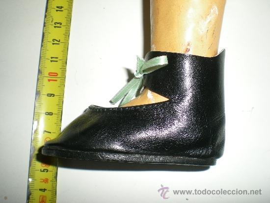 Vestidos Muñeca Española Clásica: antiguos botitas de piel negros con lazo de muñecas 8 cm años 50 ò 60 sin uso de fabrica cerrada - Foto 6 - 37100533