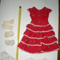 Vestidos Muñeca Española Clásica: TRAJE DE SEVILLANAS O FARALAES DE MUÑECA MARIQUITA PEREZ,CAYETANA Ò GISELA,CON ZAPATOS AÑOS 50. Lote 46002228