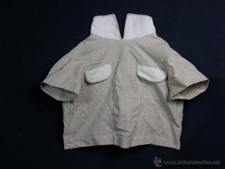 Vestidos Muñeca Española Clásica: camisa camisón delantal bebe rayas cosido mano mitad s XX 28x40cms - Foto 2 - 49737483