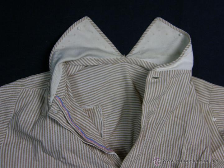 Vestidos Muñeca Española Clásica: camisa camisón delantal bebe rayas cosido mano mitad s XX 28x40cms - Foto 3 - 49737483