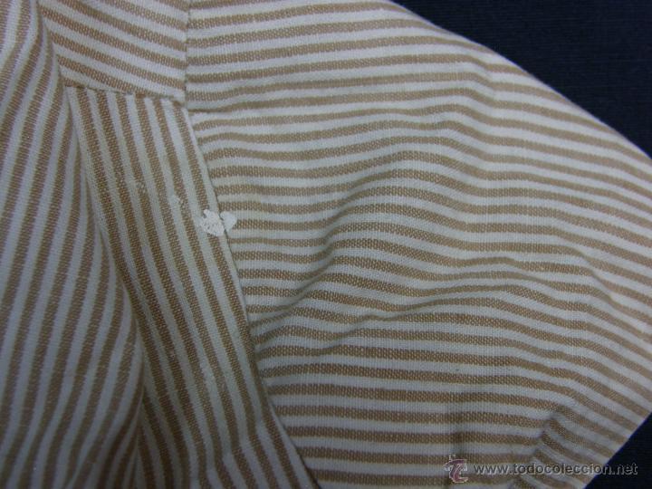 Vestidos Muñeca Española Clásica: camisa camisón delantal bebe rayas cosido mano mitad s XX 28x40cms - Foto 4 - 49737483