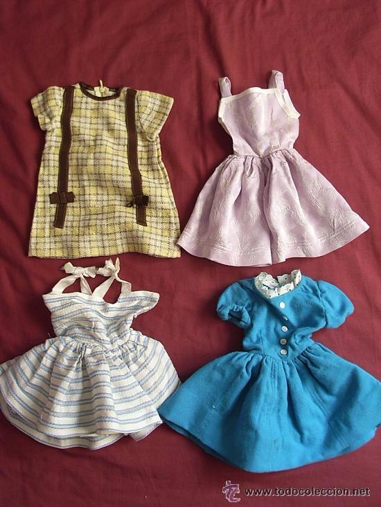 WENDOLINA-GUENDOLINA,CUATRO VESTIDOS (Juguetes - Vestidos y Accesorios Muñeca Española Clásica (Hasta 1960) )