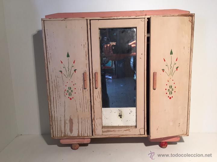 Armario ropero con espejo de madera pintada comprar - Accesorios para armarios roperos ...