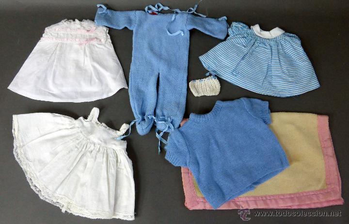 7 PRENDAS MUÑECA MUÑECO AÑOS 50 PELELE VESTIDOS MANTA BABY (Juguetes - Vestidos y Accesorios Muñeca Española Clásica (Hasta 1960) )