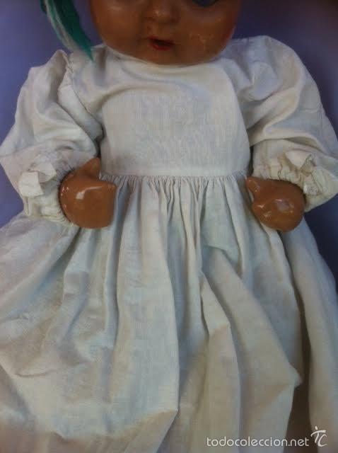 Vestidos Muñeca Española Clásica: Antiguo batón años 40 , para Juanín bebe o similar - Foto 2 - 56082648
