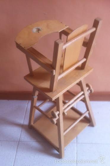 Vestidos Muñeca Española Clásica: Trona para muñeca o bebe muñeco. , silla ,se convierte en mesa - Foto 4 - 57763390