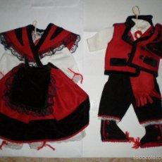 Vestidos Muñeca Española Clásica: TRAJE TIPICO GALLEGO DE HOMBRE Y MUJER. 30 CM DE ALTURA. Lote 58485884