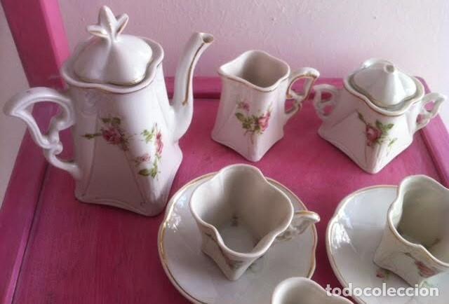 Vestidos Muñeca Española Clásica: Antiguo juego cafe o te para muñecas porcelana y oro , principios siglo, precioso - Foto 3 - 72025139