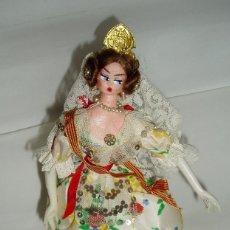 Vestidos Muñeca Española Clásica: MUÑECA CON TRAJE REGIONAL DE FALLERA. ANTIGUA. Lote 72810215