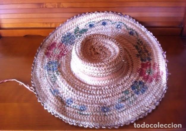 Vestidos Muñeca Española Clásica: Antigua pamela de paja, sirve para muñeca antigua, pinturas flores - Foto 2 - 80106617