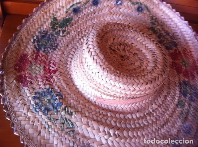 Vestidos Muñeca Española Clásica: Antigua pamela de paja, sirve para muñeca antigua, pinturas flores - Foto 4 - 80106617