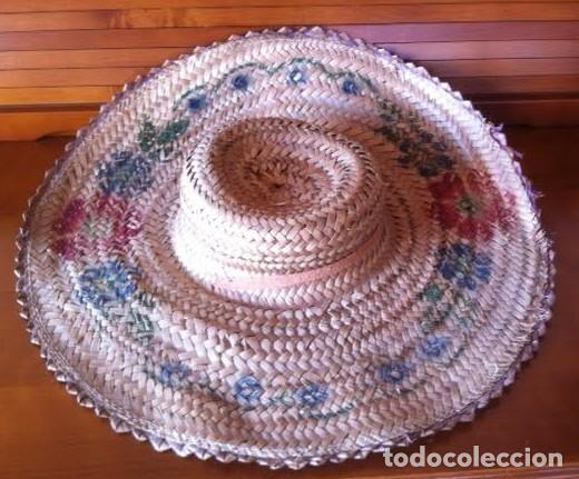 Vestidos Muñeca Española Clásica: Antigua pamela de paja, sirve para muñeca antigua, pinturas flores - Foto 5 - 80106617