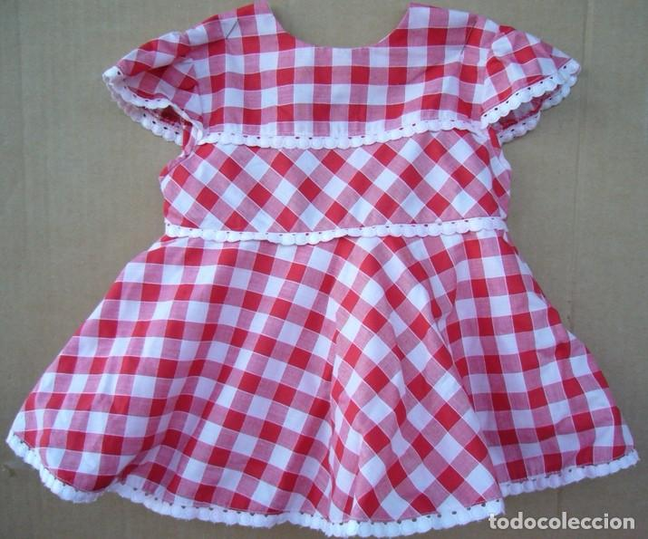 Vestido De Cuadros Rojo Y Blanco Con Anaguas De Niña Con Botones