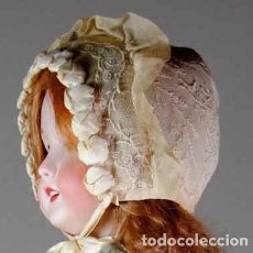Vestidos Muñeca Española Clásica: EXCELENTE GORRITO EN TUL BORDADO Y FORRADO. Lote 94668227