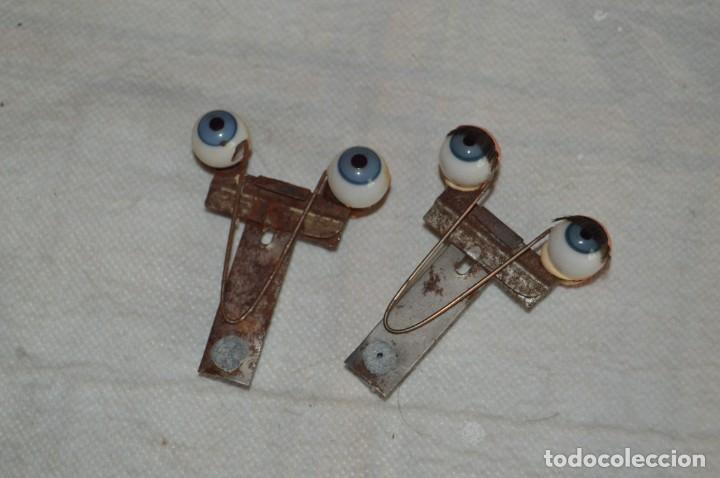 VINTAGE - LOTE 2 PARES OJOS CRISTAL REPUESTO PEQUEÑOS PARA MUÑECAS ANTIGUAS, AÑOS 40/50 - ENVÍO24H (Juguetes - Vestidos y Accesorios Muñeca Española Clásica (Hasta 1960) )