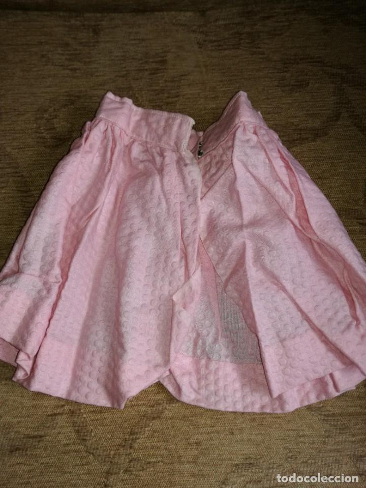 FALDA PIQUÉ ROSA ANTIGUA (Juguetes - Vestidos y Accesorios Muñeca Española Clásica (Hasta 1960) )