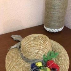 Vestidos Muñeca Española Clásica: GORRO ANTIGUO DE PAJA PARA MUÑECA . Lote 152607346