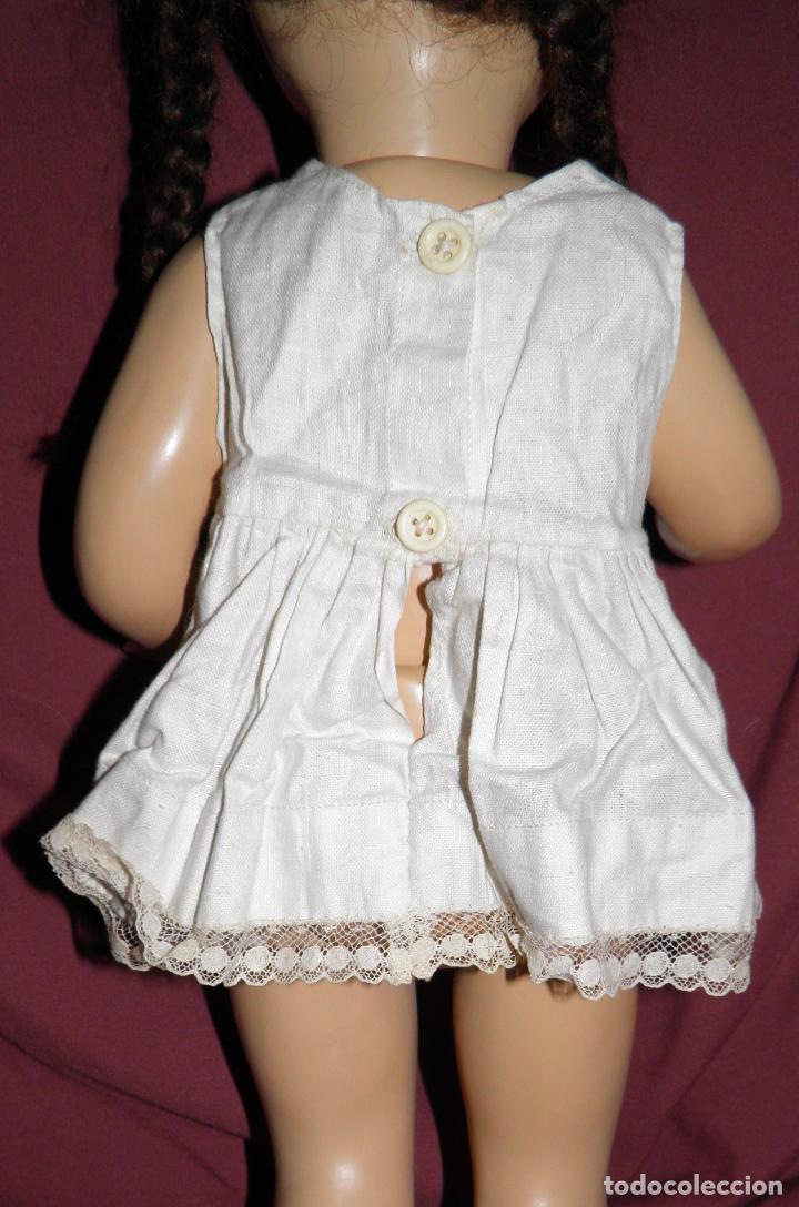 Vestidos Muñeca Española Clásica: VESTIDO AZUL CON PAMELA DE PALOMITA DE MADRID,AÑOS 40 - Foto 6 - 152789774