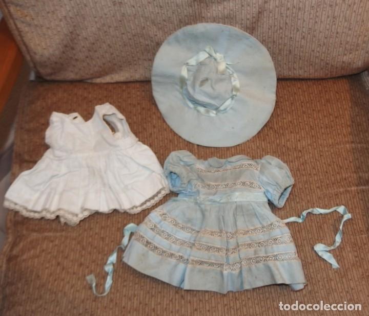 Vestidos Muñeca Española Clásica: VESTIDO AZUL CON PAMELA DE PALOMITA DE MADRID,AÑOS 40 - Foto 9 - 152789774