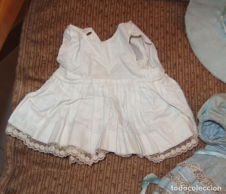 Vestidos Muñeca Española Clásica: VESTIDO AZUL CON PAMELA DE PALOMITA DE MADRID,AÑOS 40 - Foto 10 - 152789774