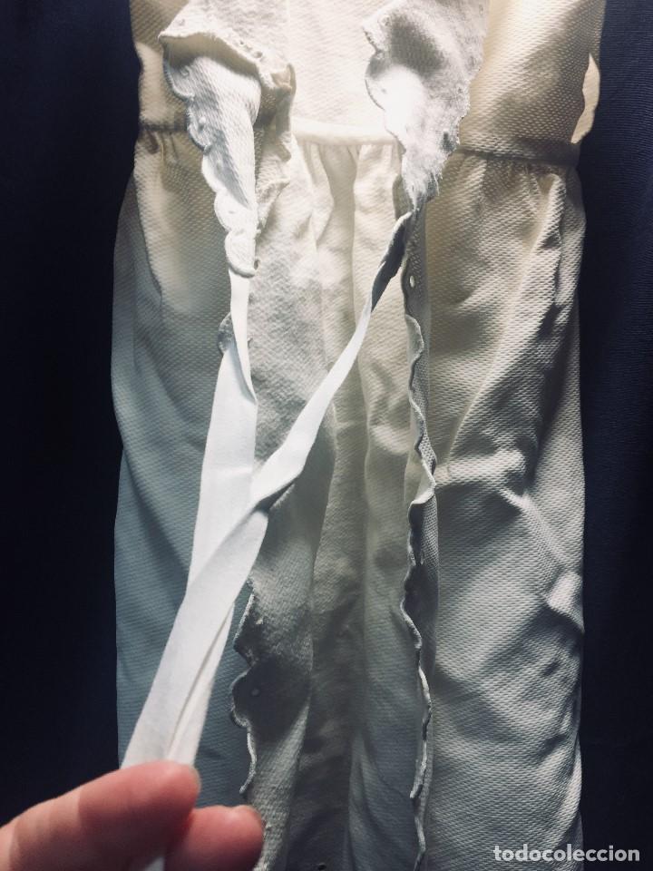 Vestidos Muñeca Española Clásica: VESTIDO ALGODON PIQUE DOS TIRANTES BEBE MUÑECA FALDON SE ATA POR DETRAS 54CMS AÑOS 40 50 - Foto 3 - 193889026