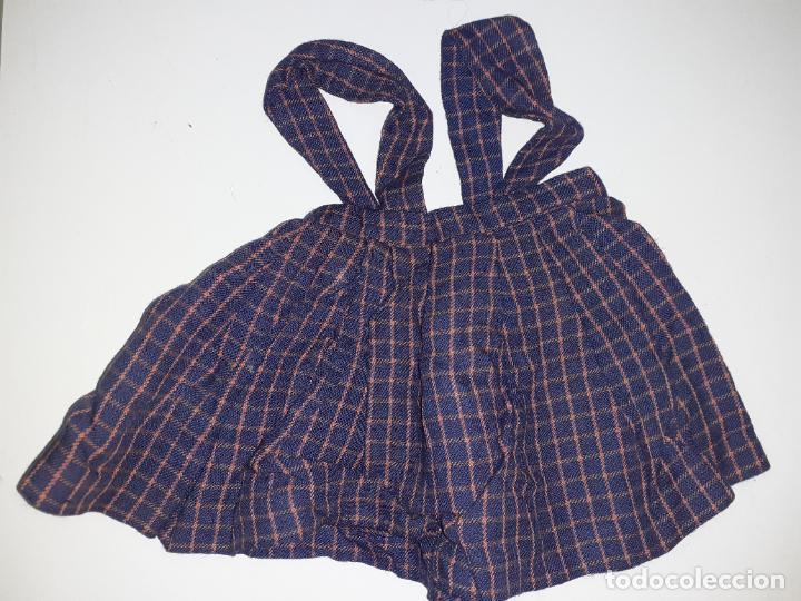 PETO AZUL CON CUADROS (1026) (Juguetes - Vestidos y Accesorios Muñeca Española Clásica (Hasta 1960) )