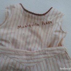 Vestidos Muñeca Española Clásica: ANTIGUO TRAJE CAMISA PANTALÓN MARIQUITA PEREZ BORDADO. Lote 196205860