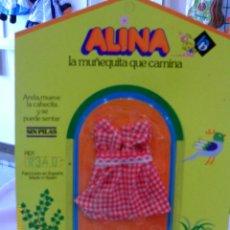 Vestidos Muñecas Españolas: VESTIDO TIRANTES CUADROS ROJOS ALINA.MUÑECAS BB AÑOS 70.NUEVO EN BLISTER.. Lote 98805374