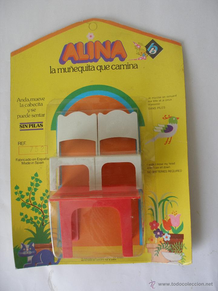 MESA Y SILLAS DE ALINA DE BB AÑOS 70 - BLISTER CERRADO (Juguetes - Vestidos y Accesorios Muñeca Española Moderna)