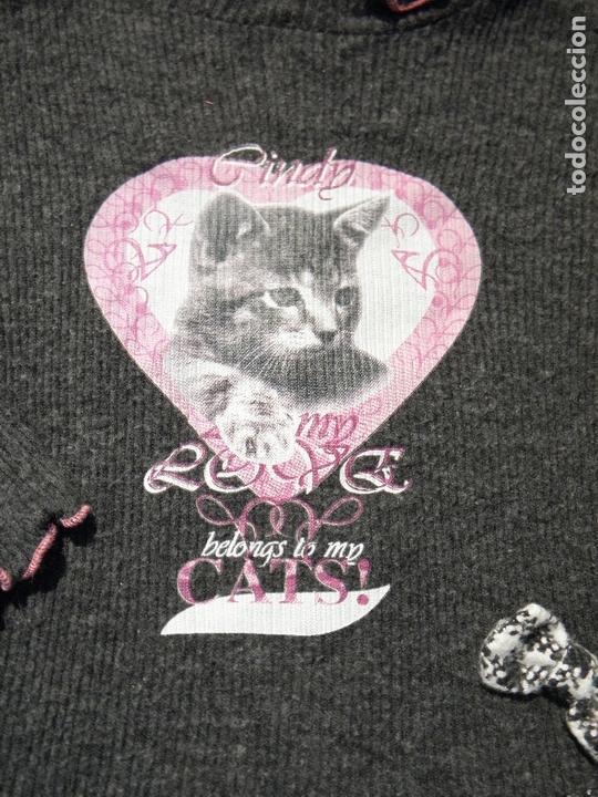 Vestidos Muñecas Españolas: Vestido gris con gatito, con leggins a juego, para muñeca niña o reborn - Foto 2 - 172006345