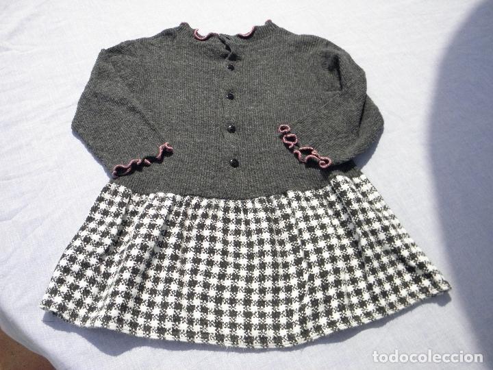 Vestidos Muñecas Españolas: Vestido gris con gatito, con leggins a juego, para muñeca niña o reborn - Foto 3 - 172006345