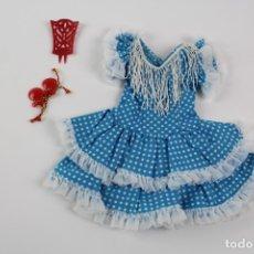 Vestidos Muñecas Españolas: CONJUNTO VESTIDO NANCY GITANA AZUL. COMPLETO.. Lote 178785976