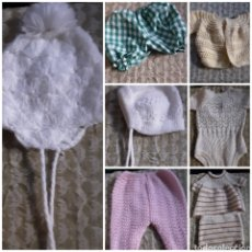 Vestidos Muñecas Españolas: LOTE 8 PRENDAS ANTIGUAS ECHA A MANO, PARA MUÑECA GRANDE. Lote 211858295