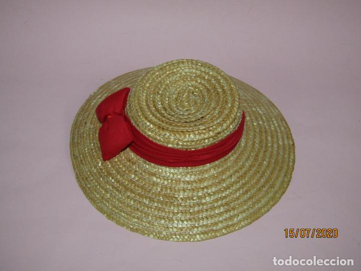 Vestidos Muñecas Españolas: Antiguo Sombrero de Paja o Fibras Vegetales de Muñecas - a Estrenar - Año 1980s. - Foto 2 - 211867313