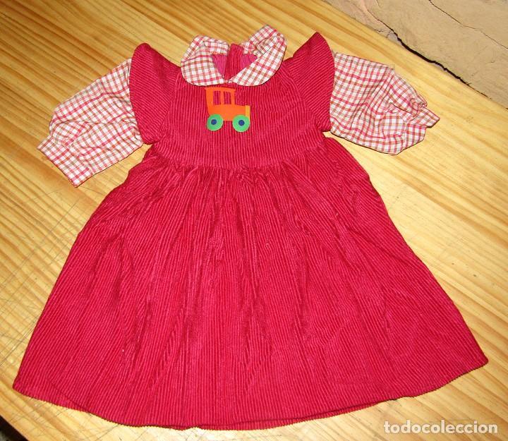 ANTIGUO VESTIDO PARA MUÑECA DE TOYSE - PANA - ROJO - NUEVO A ESTRENAR (Juguetes - Vestidos y Accesorios Muñeca Española Moderna)