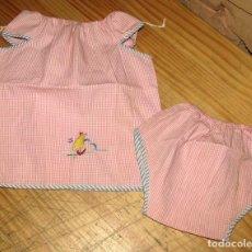 Vestidos Muñecas Españolas: ANTIGUO CONJUNTO PARA MUÑECO, MUÑECA O BEBE - BRAGA Y CAMISA - AÑOS 70 - NUEVO - ALGODON. Lote 269409438