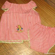 Vestidos Muñecas Españolas: ANTIGUO CONJUNTO PARA MUÑECO, MUÑECA O BEBE - BRAGA Y CAMISA - AÑOS 70 - NUEVO - ALGODON. Lote 269409573