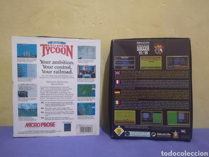 Videojuegos y Consolas: Lote pack 2 juegos Amiga Railroad Tycoon - Sensible Soccer - caja cartón - diskette - Foto 2 - 215342635