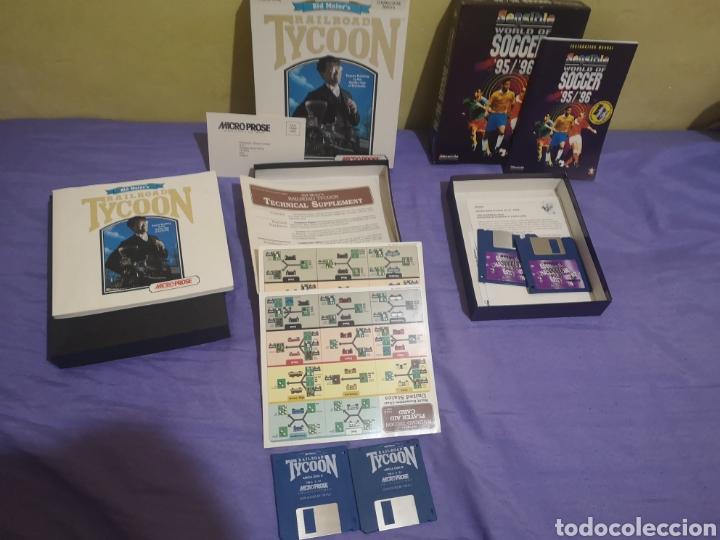 Videojuegos y Consolas: Lote pack 2 juegos Amiga Railroad Tycoon - Sensible Soccer - caja cartón - diskette - Foto 4 - 215342635