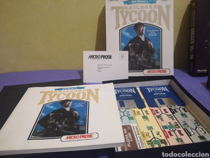 Videojuegos y Consolas: Lote pack 2 juegos Amiga Railroad Tycoon - Sensible Soccer - caja cartón - diskette - Foto 5 - 215342635