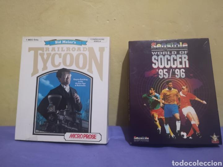 LOTE PACK 2 JUEGOS AMIGA RAILROAD TYCOON - SENSIBLE SOCCER - CAJA CARTÓN - DISKETTE (Juguetes - Videojuegos y Consolas - Amiga)