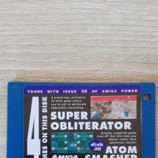 """Videojuegos y Consolas: SUPER OBLITERATOR-ATOM SMASHER-DISKETTE 3,5""""-COMMODORE AMIGA-DEMO-AMIGA POWER ISSUE 38-AÑOS 90.. Lote 225743758"""